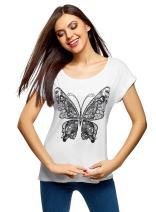 oodji Ultra Women's Printed Viscose T-Shirt