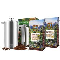 Java Planet - Father's Day Coffee Gift Set - Organic Whole Bean Coffee - Gourmet Specialty Craft Roasted Arabica Beans - 2 Medium Roast Coffees & 1 French Press
