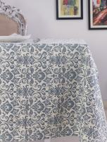 Table Cloth, 100% Cotton, Rectangular Table Cloth of Size 52X70 Inch, Eco - Friendly & Safe, Blue Ornaments Design for Kitchen