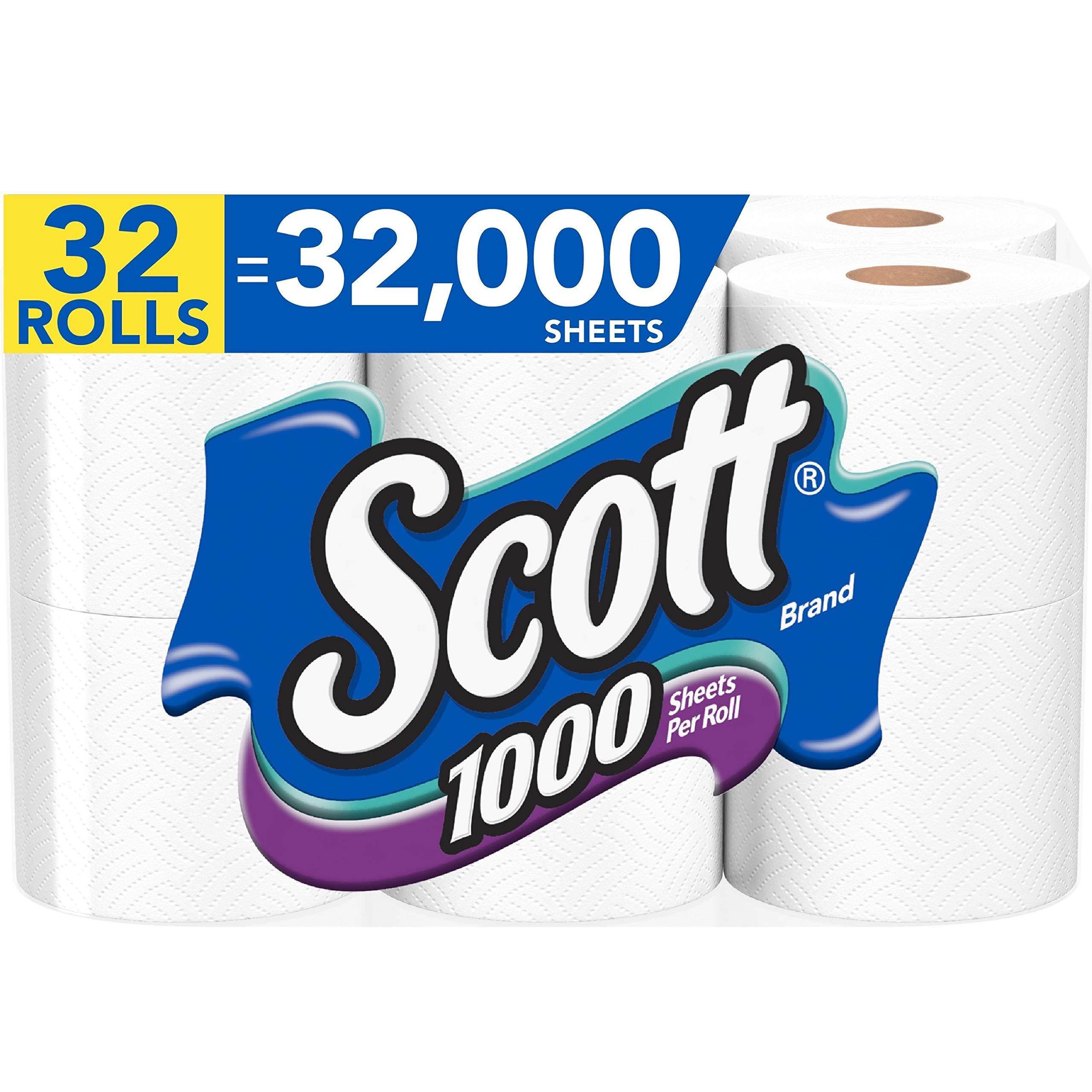 Scott 1000 Sheets Per Roll Toilet Paper, 4 Packs of 8 Rolls (32 Rolls Total) Bath Tissue