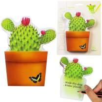 DeskPlant Desk Tidy Fun Organiser Pen Holder Pot Sticky Notes Note Pad School Office Gift - Bloomnotes Cactus