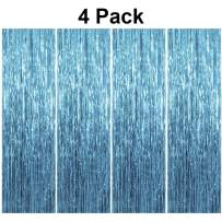 pozzolanas 4 Pack Foil Fringe Curtain Metallic Tinsel Shimmer Party Photo Backdrop Curtains for Birthday, Engagement, Baby Shower, Weddings Party and Celebrations Backdrop Decorations(Light Blue)