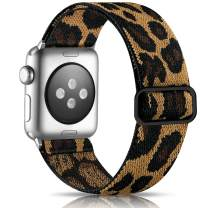 Getino Adjustable Elastic Band Compatible with Apple Watch 40mm 38mm iWatch SE & Series 6 5 4 3 2 1, Soft Stylish Cute Stretchy Woven Fabric Wristband for Women Men, Leopard Pattern