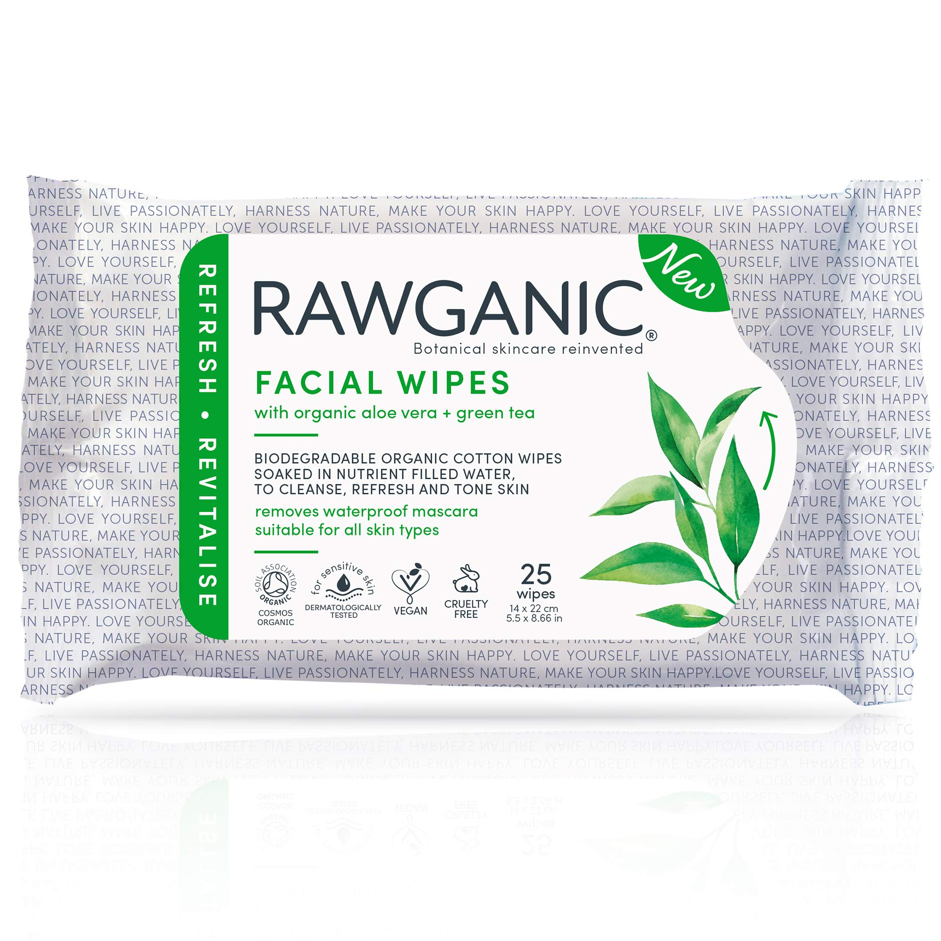 RAWGANIC Refreshing Facial Wipes, Fragrance-free Biodegradable Organic Cotton Wipes with Aloe Vera and Green Tea (25-Count), Packaging May Vary