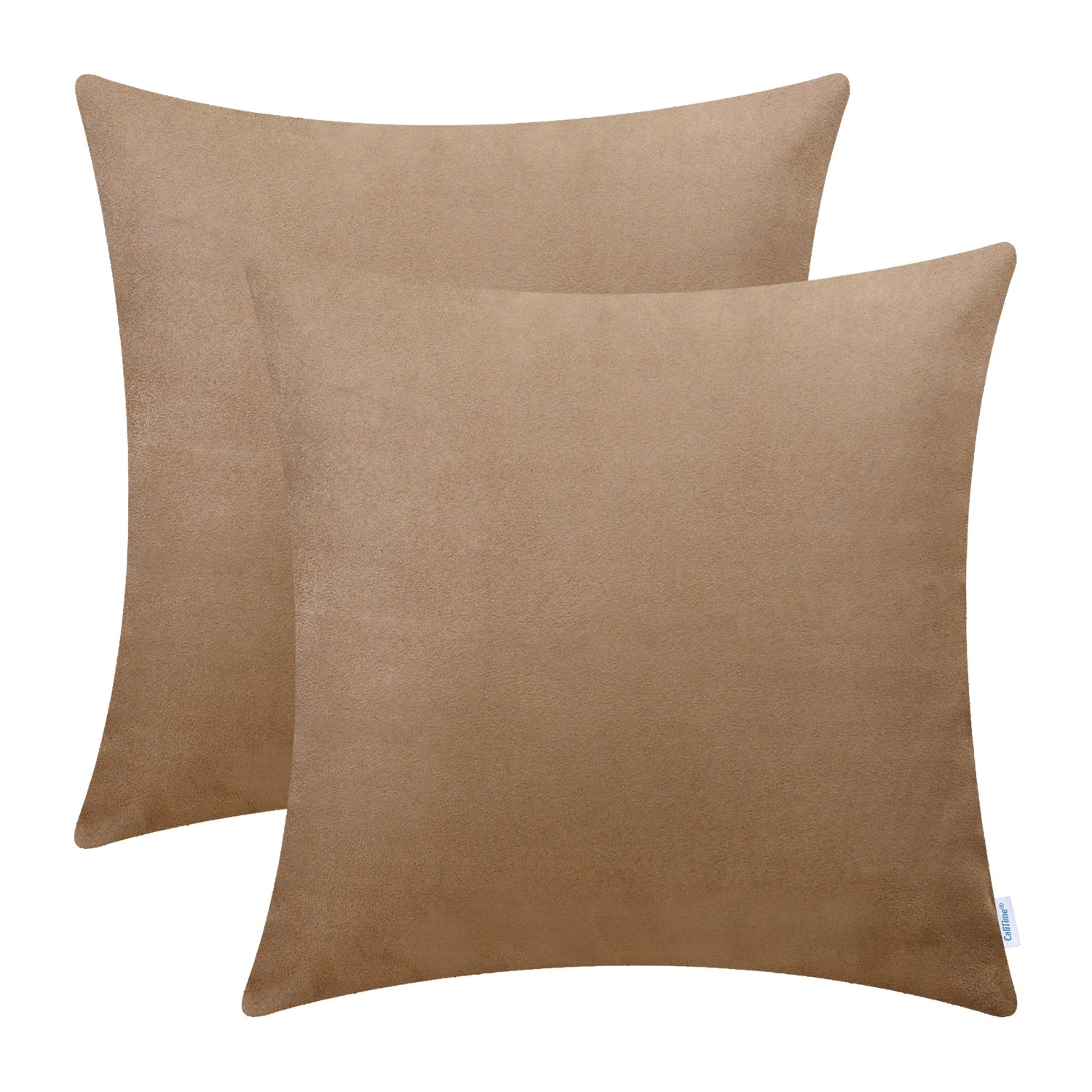 CaliTime Pack of 2 Cozy Throw Pillow Covers Cases for Couch Bed Sofa Super Soft Faux Suede Solid Color Both Sides 20 X 20 Inches Camel