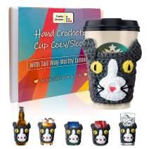 Funky Strokes Cat Moms Gift Idea - Handmade Travel Cup Sleeve - Reusable Coffee Cup Cozy - Crochet Mug Sweater - Novelty Gift Idea for Men & Women