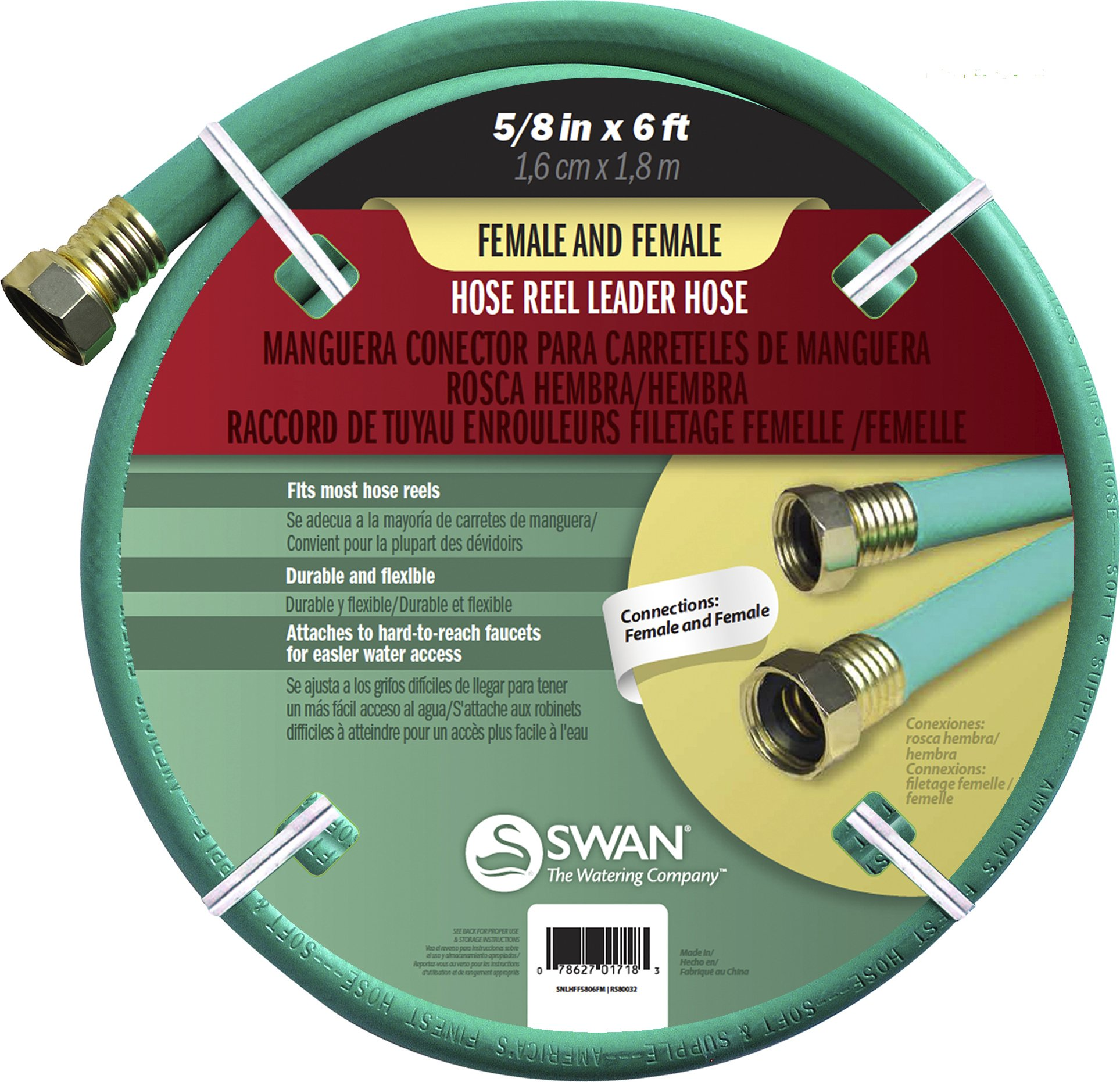 "Swan Produtcs CSNLHFF5806CC Hose Reel Leader Hose with Female Connections 6' x 5/8"", Green"