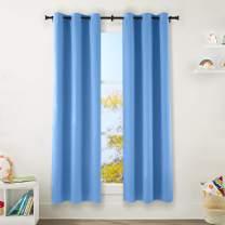 "Amazon Basics Kids Room Darkening Blackout Window Curtain Set with Grommets - 42"" x 84"", Azure Blue"