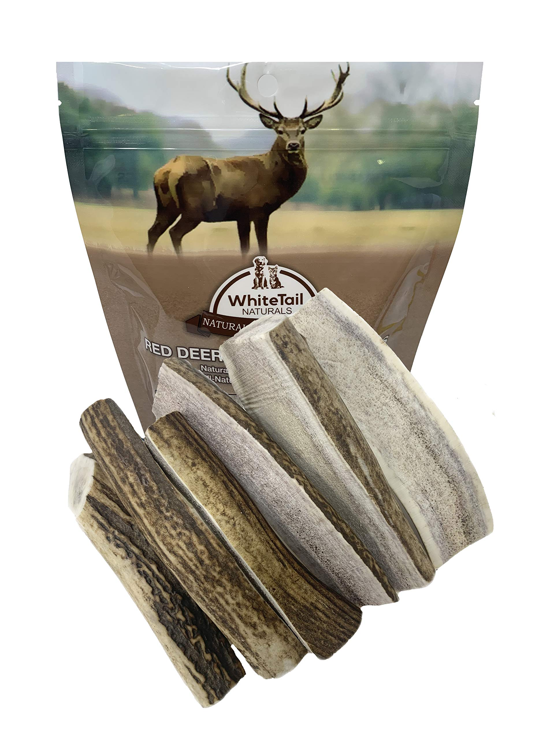 WhiteTail Naturals Grade A, Split Red Deer Antlers for Dogs   (6 Pack Medium)   Naturally Shed Antler Horn   5 to 6 Inch Long Natural Dog Chews   for Smaller Power Chewers