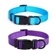 "Mile High Life | Dog Collar | Nylon Thick Fabric | with Reflective Straps Three Line | 2 Pack Hot Blue/Purple, Medium Neck 13""-17"" -40 lb"