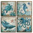 """YOOOAHU 4 Pieces Canvas Prints Home Wall Decor Art Collection of Marine Animals Watercolor Sea Turtle Seahorse Whale Octopus Ocean Animal Pictures Modern Artwork Ready to Hang -12""""x12""""x4 Panels(MLK)"""