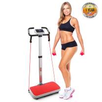 Vibration Platform Trainer Fitness Machine, Fast Workout Exercise, Adjustable Time Speed Level w/ 2 Resistance Bands LCD Display Remote Control and Portable Carry Roller Wheels - Hurtle PHURBTR90