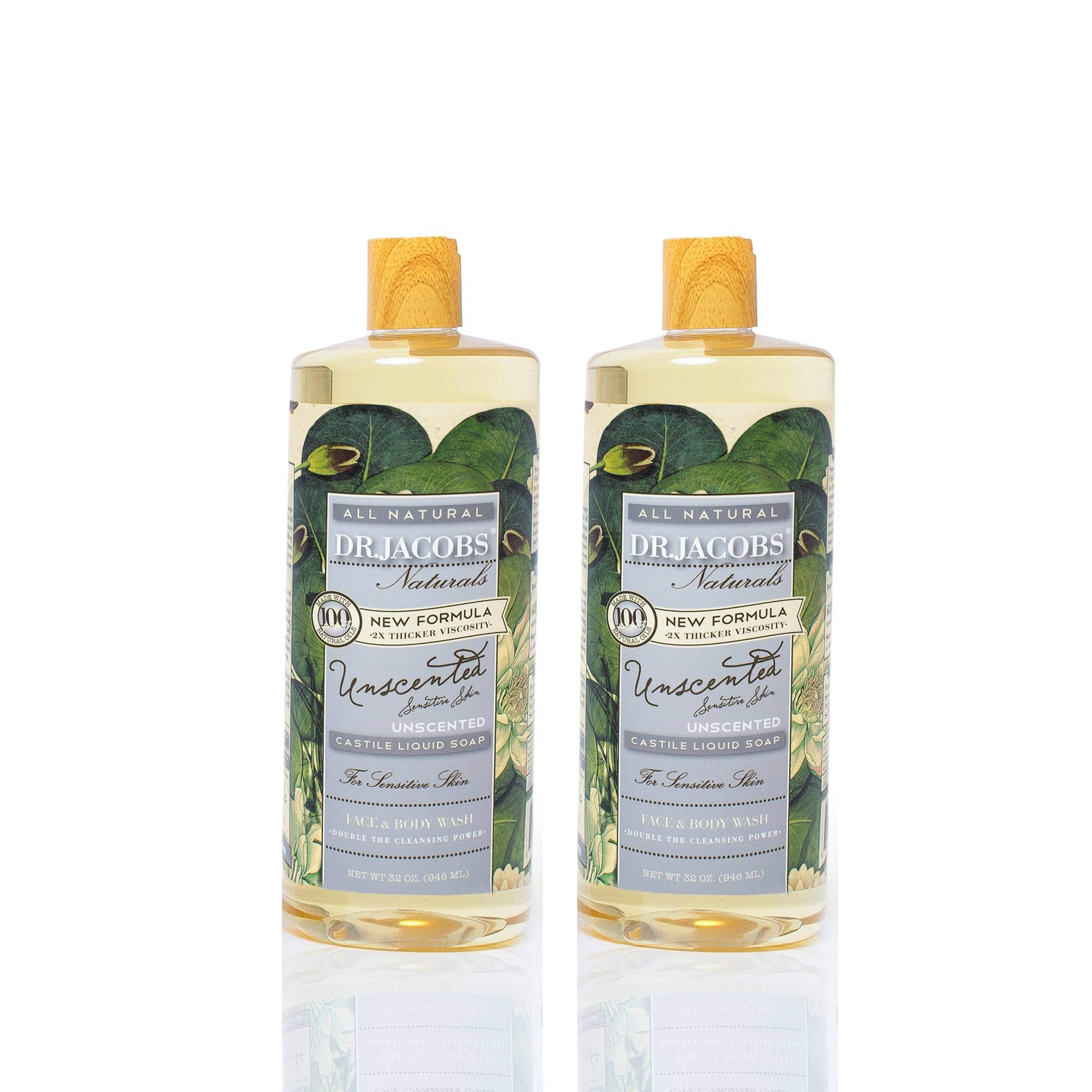 Dr. Jacobs Naturals Pure Castile Liquid Soap Face and Body Wash Unscented 32 oz. 2 Pack - Free of Parabens, Sulfates, Synthetics, Gltuen and GMO