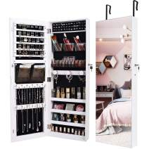 """LVSOMT Jewelry Organizer Cabinet with Full-Length Body Mirror, Wall/Door Mounted Jewelry Armoire, Large Capacity Lockable Storage Cabinet with 2 Pockets & 4 Shelves, 14.5""""W x 42.5""""H, Wood (White)…"""