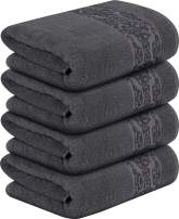 Utopia Towels - Floral Bath Towels Set, Dark Grey - Premium 600 GSM 100% Ring Spun Cotton - Quick Dry, Highly Absorbent, Soft Feel Towels, Perfect for Daily Use (4-Pack)
