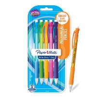 Paper Mate Write Bros Grip Mechanical Pencils, 0.7mm Point Size, Smudge Resistant Eraser, Comfort Grip, Number 2 Lead, Assorted Colors, Pack of 5 (61377)