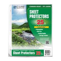 C-Line Biodegradable Poly Top Loading Sheet Protectors, Clear, 8.5 x 11 Inches, 25 per Pack (04947)