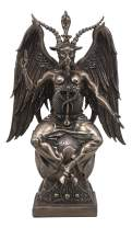 "Ebros Large 15"" Tall Church of Satan Baphomet Sabbatic Goat Idol Sitting On Globe Statue Satanic Occultic Altar Sculpture Home Decor Solve Et Coagula Illuminati"