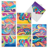 10 Note Cards w/Envelopes, Assorted 'Whimsical Waves' Blank Greeting Cards, Colorful All Occasion Cards for Thank You, Birthday, Invitation - Stationery Notecards 4 x 5.12 inch M3316