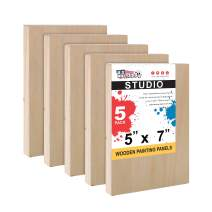"U.S. Art Supply 5"" x 7"" Birch Wood Paint Pouring Panel Boards, Studio 3/4"" Deep Cradle (Pack of 5) - Artist Wooden Wall Canvases - Painting Mixed-Media Craft, Acrylic, Oil, Watercolor, Encaustic"