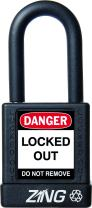"""ZING 7036 RecycLock Safety Padlock, Keyed Different, 1-1/2"""" Shackle, 1-3/4"""" Body, Black"""