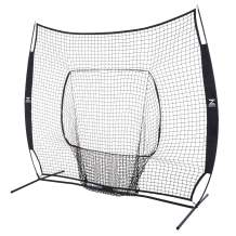 ZELUS 7 x 7 Baseball and Softball Practice Net, Portable Hitting Batting Training Net with Carry Bag and Bow Frame