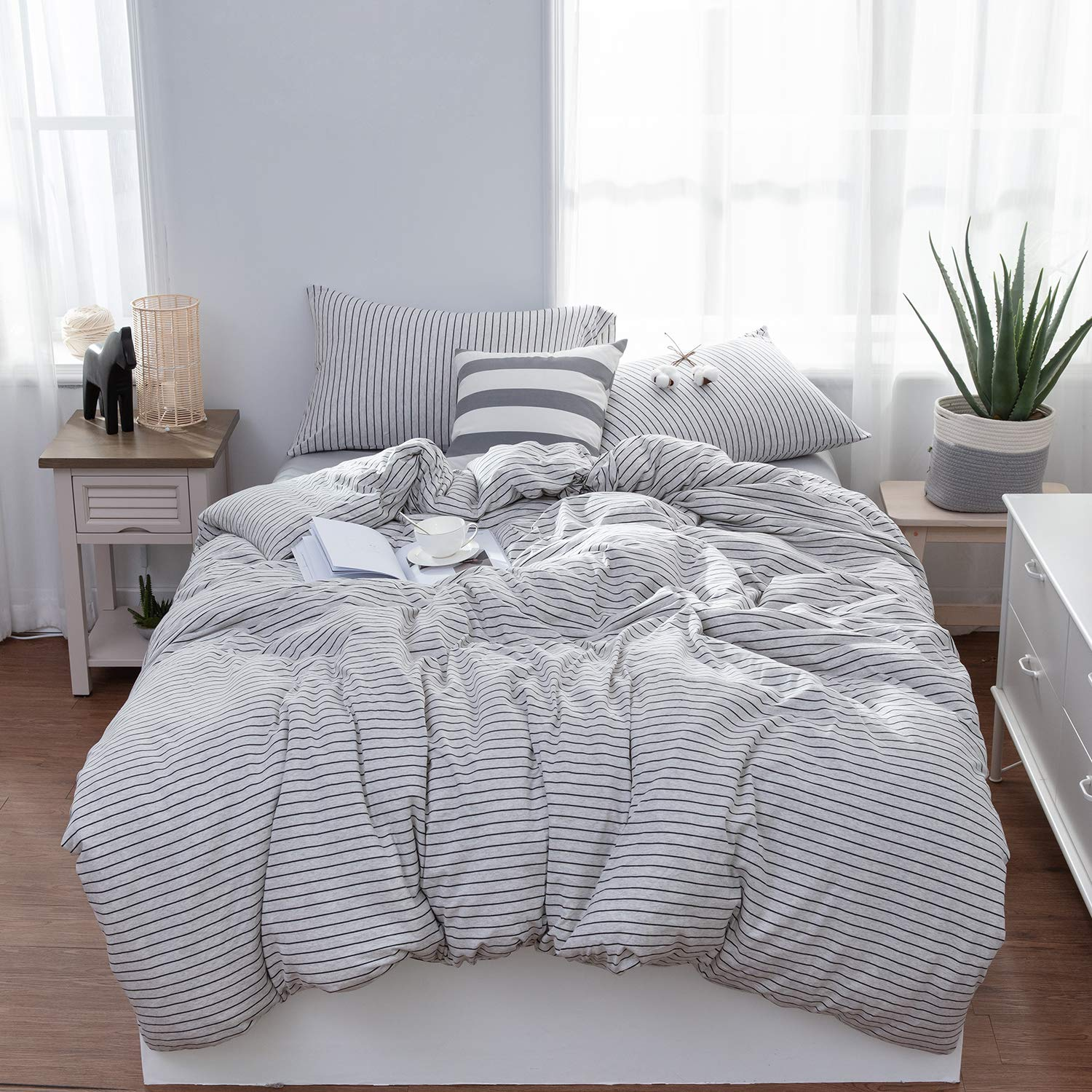 LIFETOWN Jersey Knit Cotton Duvet Cover Queen, 1 Duvet Cover and 2 Pillowcases, Striped Duvet Cover Set, Extremely Soft and Breathable (Full/Queen, Grey White/Black Stripes)