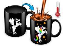 Cortunex Unicorn Color Changing Cup - 11 Ounce Funny Coffee Mug - Great Unicorn Gift For Girls,women,mom And Unicorn Lovers - Cute Mug - Black Ceramic Heat Changing Mug | Great Christmas Gift Idea