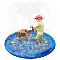 """QPAU Sprinkler for Kids, Splash Pad, Baby Pool for Learning, Inflatable Water Toys, 60"""" Outdoor Swimming Pool for Babies and Toddlers (Transparent Blue)"""
