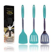 Aqua Sky Silicone Spatula Turner Set – Stainless Steel and Silicone Heat Resistant Kitchen Utensils – 608F – Grill Spatula Tools for BBQ - Egg and Pancake Flipper – Gift Box and Bonus Recipe Ebook