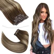 YoungSee Clip in Hair Extensions Human Hair 18 inch Blonde Clip in Hair Extensions Balayage Dark Brown Mix Caramel Blonde Clip in Extensions Human Hair 7pcs 100g