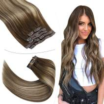 YoungSee Blonde Clip in Hair Extensions 14 inch Clip in Human Hair Extensions Blonde Balayage Dark Brown Mix Caramel Blonde Clip in Hair Extensions Human Hair 7pcs 100g