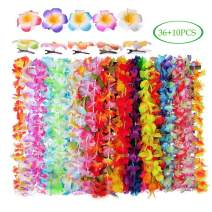 COCOScent Hawaiian Luau Party Supplies-Hawaiian Leis(36Ct) with Hawaiian Flower Hair Clips(10pcs), Perfect for Your Hawaii Luaus Tiki Flowers/Summer Pool Party Supplies Wedding & Birthday Decorations