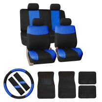 FH Group FB056114 Modern Flat Cloth Car Seat Covers Combo Set: F14403 Carpet Floor Mats, Steering Wheel Cover, Seat Belt Pads Blue/Black- Universal Fit for Trucks, SUVs, and Vans