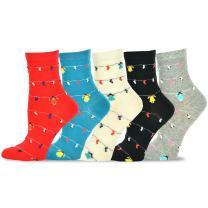 TeeHee Women's Value 5-pack Cotton Crew Socks