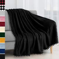 PAVILIA Fleece Throw Blanket with Pom Pom Fringe | Black Flannel Throw | Super Soft Lightweight Microfiber Polyester | Plush, Fuzzy, Cozy, Machine Washable | 50 x 60 Inches