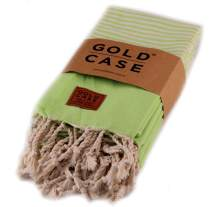 Gold Case Hera Small Peshtemal Set of 4 Turkish Bath Spa Yoga Tea Towel for Hand Face Kitchen 20x40 100% Cotton Bright Green
