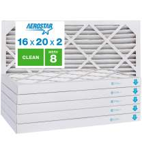 """Aerostar Clean House 16x20x2 MERV 8 Pleated Air Filter, Made in the USA, (Actual Size: 15 1/2""""x19 1/2""""x1 3/4""""), 6-Pack, White"""