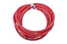 KONMAY 2 Yards Red 6.0mm Round Braided Genuine Bolo Leather Cord for Jewelry and Craft Designs (6.0mm, Red)