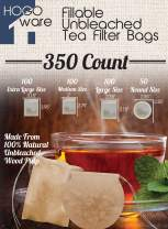 Fillable Tea Bag Filters for Loose Tea, Disposable (Variety Pack, Unbleached)
