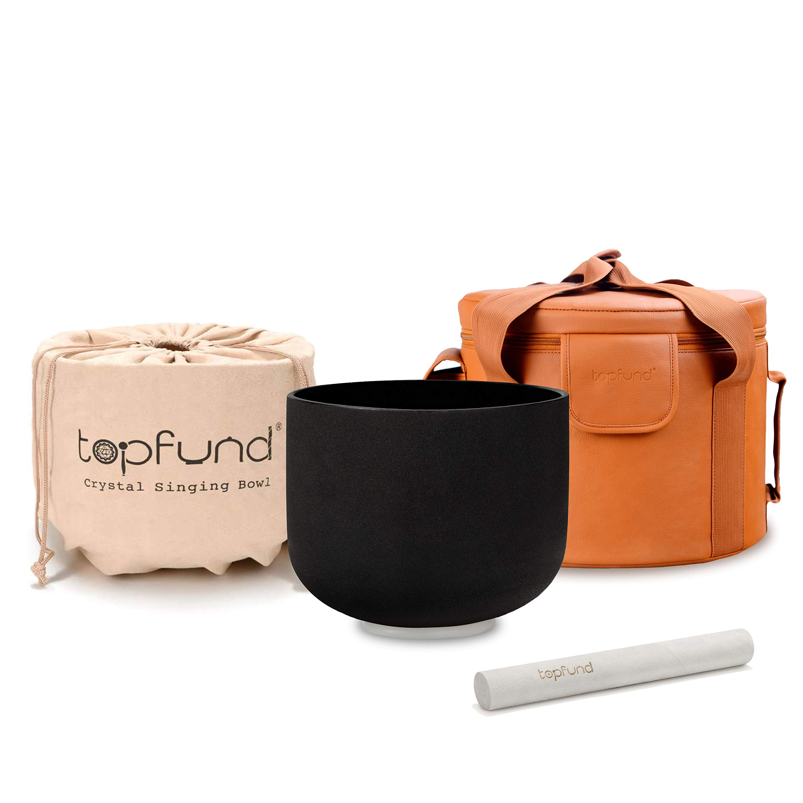 TOPFUND Black G Note Crystal Singing Bowl Throat Chakra 10 inch with Heavy Duty Artificial Leather Carrying Case and Singing Bowl Suede Striker