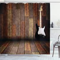 """Ambesonne Popstar Party Shower Curtain, Electric Guitar in The Wooden Room Country House Interior Music Theme, Cloth Fabric Bathroom Decor Set with Hooks, 84"""" Long Extra, Brown Black"""