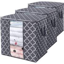 WISELIFE Storage Bags 100L 3-Pack Large Blanket Clothes Organization and Storage Containers for Comforters,Bedding, Foldable Organizer with Reinforced Handle, Clear Window, Sturdy Zippers,Gray