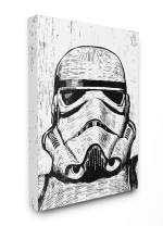 The Stupell Home Décor Collection Black and White Star Wars Stormtrooper Distressed Wood Etching Stretched Canvas Wall Art, 30 x 40, Multi-Color