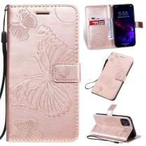 Cmeka 3D Butterfly Wallet Case for iPhone 11 Pro Max 2019 6.5 inch with Credit Card Slots Holder Magnetic Closure Slim Flip Leather Kickstand Function Protective Case Rose Glod