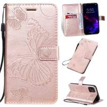 Cmeka 3D Butterfly Wallet Case for iPhone 11 2019 6.1 inch with Credit Card Slots Holder Magnetic Closure Slim Flip Leather Kickstand Function Protective Case Rose Glod