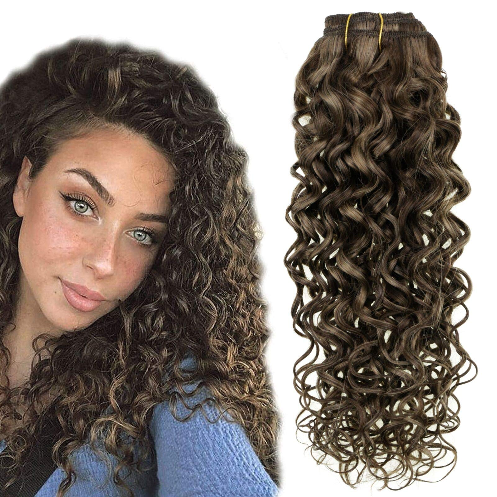 Hetto 14'' Curly Clip in Extensions Human Hair Natural Clip in Hair Extensions Brown Highlighted Hair Extension Clip in Double Wefted Wavy Human Hair Extensions 7Pcs 100g