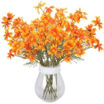 RERXN Artificial Fake Flowers, Silk Daisy Perennials Long Stem Fake Gerbera Sunflower Home Wedding Office Decor. Pack of 5 (Orange)