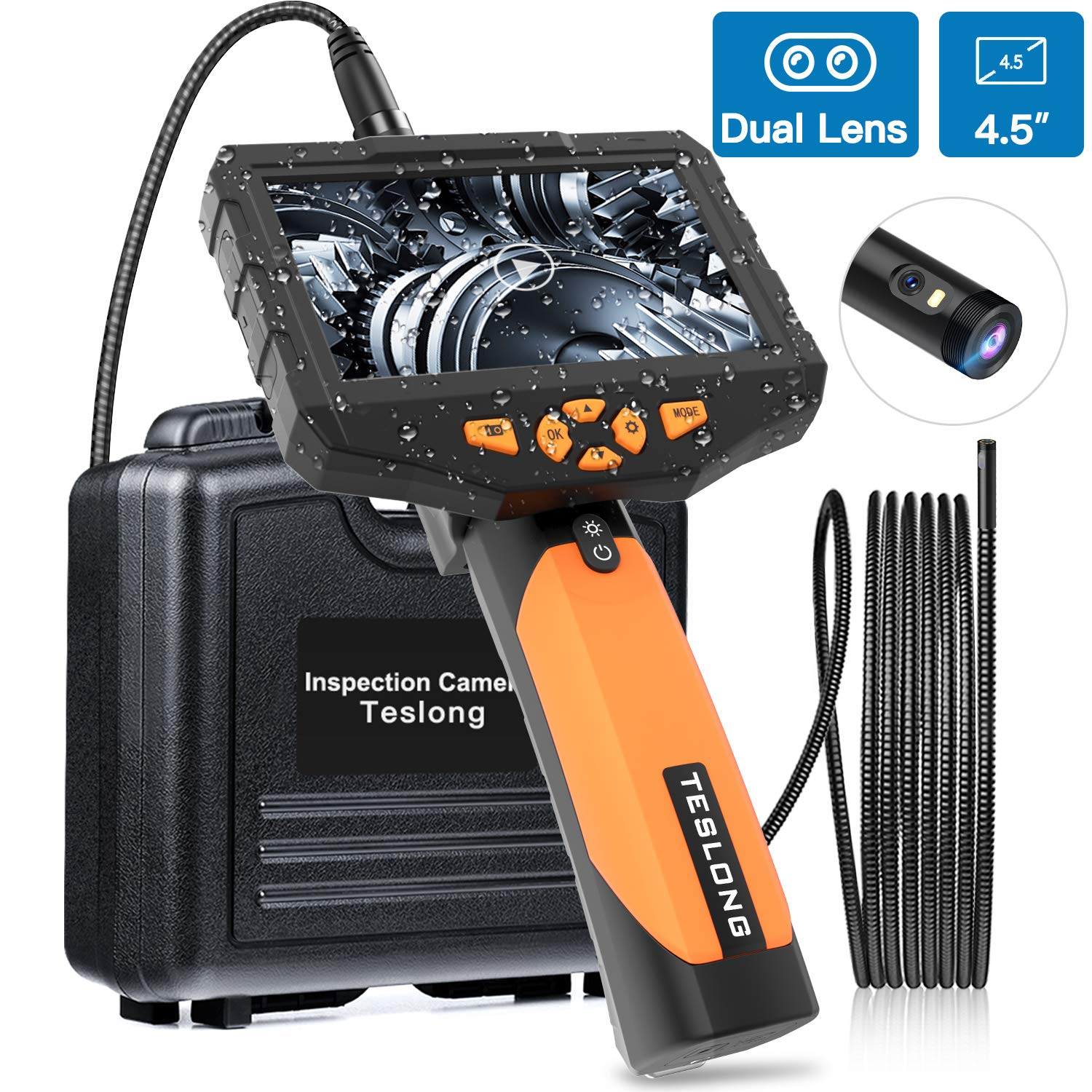 Teslong Inspection Camera 8MM, Industrial Endoscope-Borescope, 9.84 ft Cable, 6 LED Lights with Dual Lens, 1080P HD Image, 4.5 Inches Display Screen, 32 GB Card, IP67 Waterproof, Tempered Glass