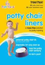 TidyTots Disposable Potty Chair Liners | XL Travel Pack of 32 Liners + 32 Absorbent Pads | Use with Potty Training Portable Toilet for Toddlers & Kids | Universal Fit
